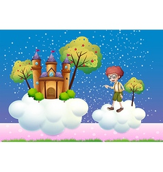 Clouds with a boy and a castle vector image