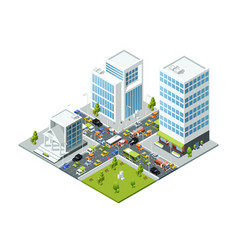 crossroad jam traffic isometric urban transport vector image