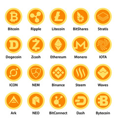 Cryptocurrency types icons set flat style vector