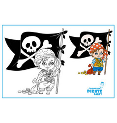 cute cartoon boy in pirate costume holding vector image