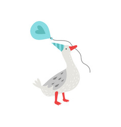 Cute white goose holding balloon in its beak vector