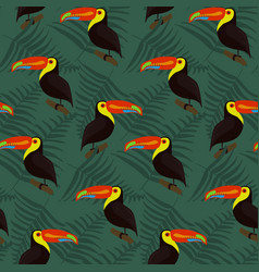 dark forest pattern with bright toucans and leaves vector image