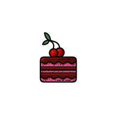 delicious chocolate cake with a cherry on top flat vector image