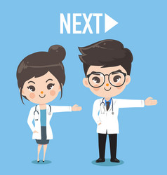 Doctor cute take hand next to right vector