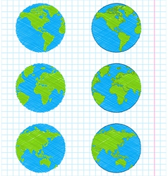 Doodle earth globes set vector image