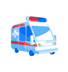 emergency ambulance van with red and blue vector image