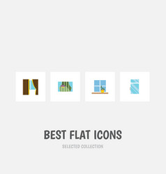 flat icon glass set of flowerpot clean glass and vector image