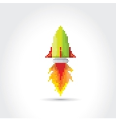 Flat pixel rocket on white background vector