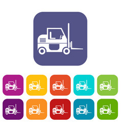 forklift icons set vector image
