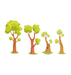 Funny trees cartoon characters collection tree vector