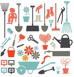 Gardening Icons - Tools Set Isolated on White vector image