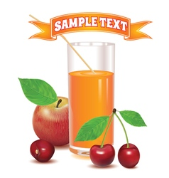 Glass for juice from red cherries and red apple vector