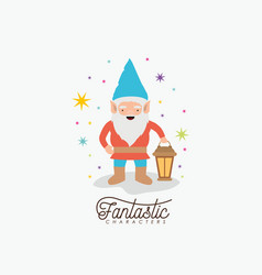 gnome fantastic character with hand lamp with vector image