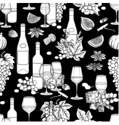 graphic wine glasses and bottles decorated vector image