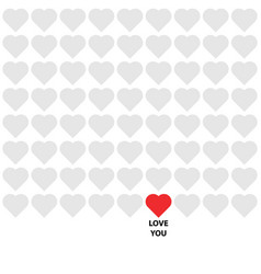 Gray and red hearts with lettering love you vector