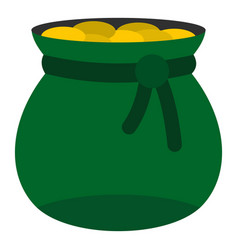 Green bag full of gold coins icon isolated vector