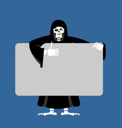 grim reaper holding banner blank death and white vector image