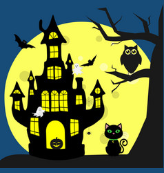 happy halloween helluinsky black cat sits next to vector image
