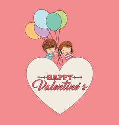 happy valentines cute girl and boy holding vector image