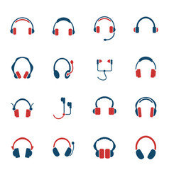 headphones icon set vector image