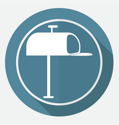 icon mailbox on white circle with a long shadow vector image