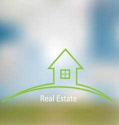 Icon sale of real estate on a blurred background vector image