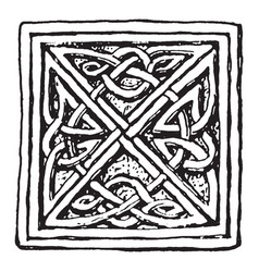 Interlace pattern from a celtic cross at mugle vector