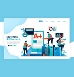 Landing page educational achievement academic vector