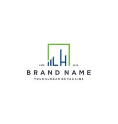 Letter lh square logo finance design vector