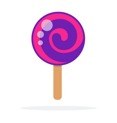 lilac round lollipop swirl on stick flat isolated vector image