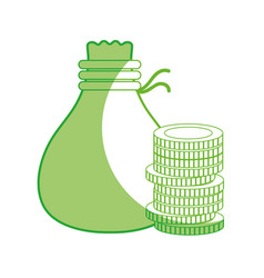 Line coins cash money with bag vector