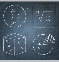 Math icons set in line style on chalkboard vector