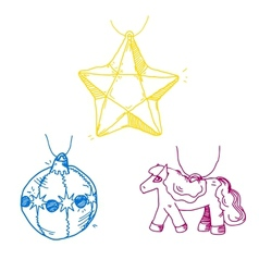 Merry Christmas decorations sketch vector