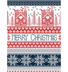 Merry Christmas Tall xmas pattern with gingerbread vector image