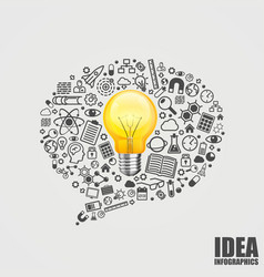 message of the icons with light bulb vector image