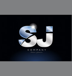 Metal blue alphabet letter sj s j logo company vector