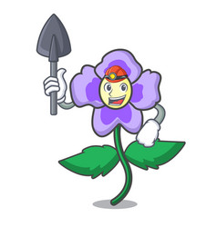 Miner pansy flower mascot cartoon vector
