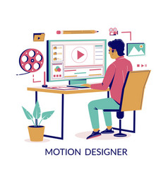 Motion designer concept for web banner vector