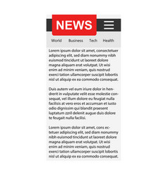 News template sign icon in flat style website vector