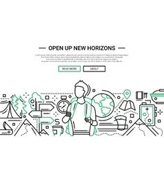 Open Up New Horizons - line design website banner vector