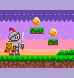 Pixel-game knight brave character pixelated vector