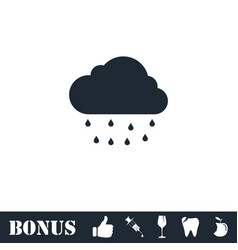 Rain icon flat vector