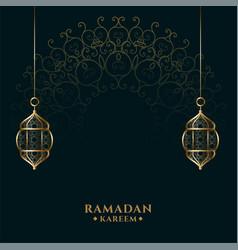 Ramadan kareem islamic golden lantern background vector