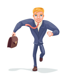 running businessman hurry for meeting character vector image