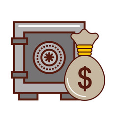 safe box money bag bank finance vector image