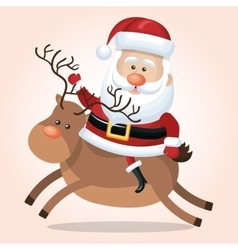 santa claus reindeer christmas isolated vector image
