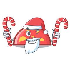 santa with candy semicircle mascot cartoon style vector image