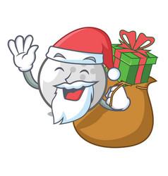 Santa with gift golf ball mascot cartoon vector