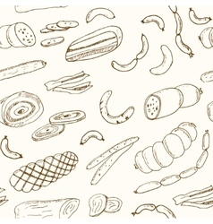 Sausages seamless pattern hand drawn vector