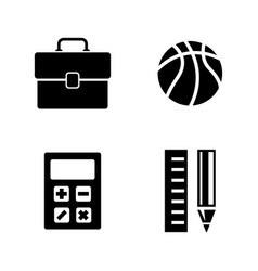 School subjects simple related icons vector